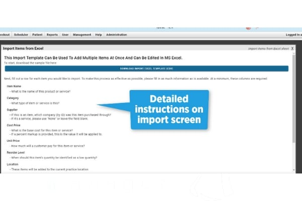 easy import veterinary items and services screen