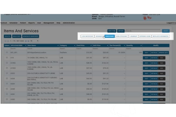 easy inventory manage items and services in veterinary software fields