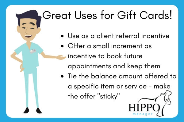 great uses for veterinary practice gift cards infographic