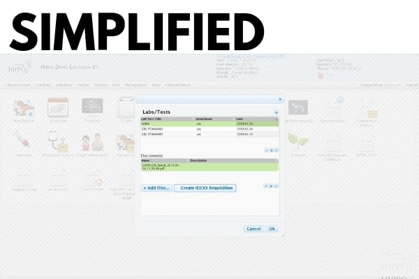 integration with idexx labs hippo manager veterinary software selection screen