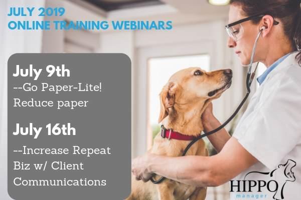july 2019 free training webinars paper lite veterinary software