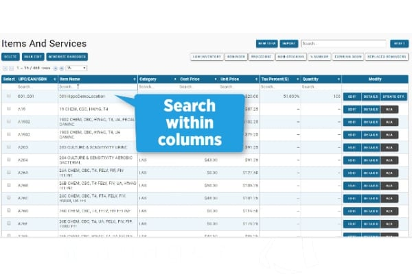 managing items and services in hippo manager search columns