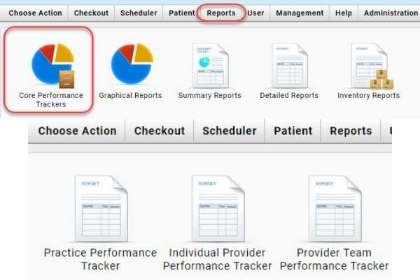 veterinary provider production performance report screen