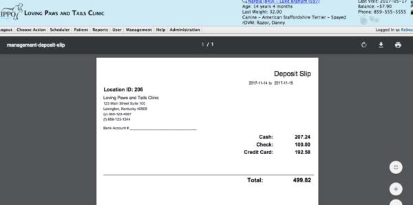 Veterinary Software Deposit Slip Report
