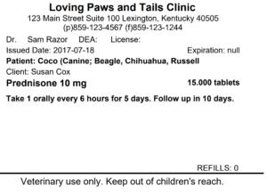 veterinary prescription labels