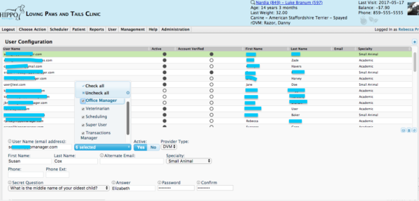 user access levels veterinary software hippo manager
