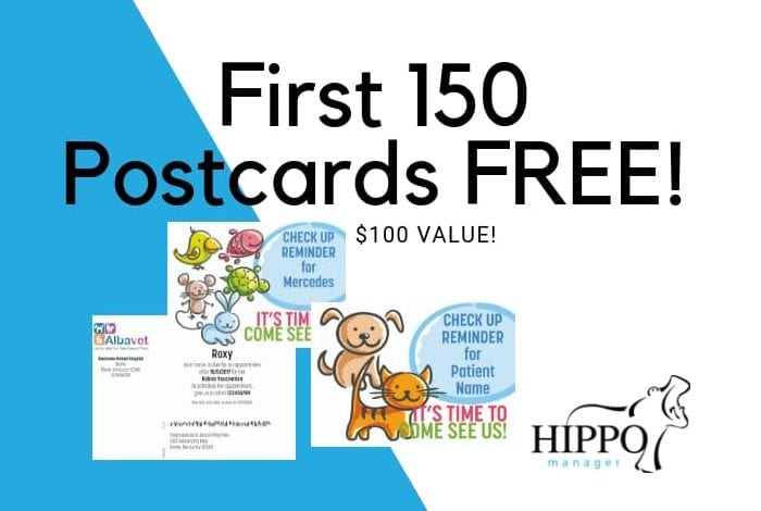 free mailed postcard veterinary patient reminders
