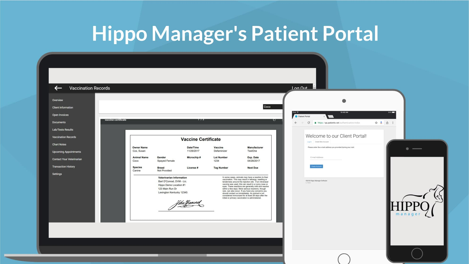 hippo manager veterinary software Patient Portal