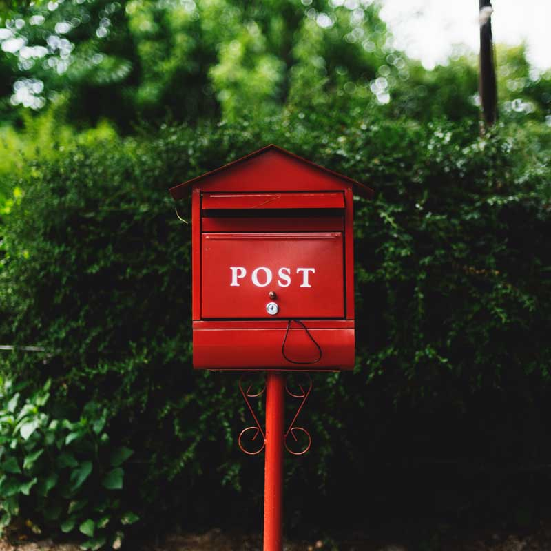 Mailbox for Postcard Reminders